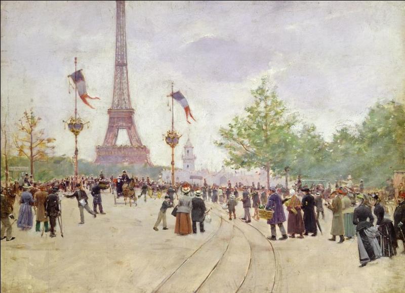 A quel peintre de genre, portraitiste, connu pour ses représentations de scènes de la vie parisienne, doit-on ce tableau intitulé  Entrée de l'Exposition universelle en 1889  ?