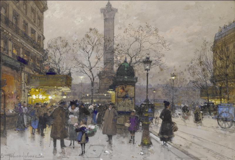 Moins connu que d'autres, il a su cependant très bien capter l'ambiance parisienne de son époque. Qui est ce peintre français, auteur de  La place de la Bastille  réalisée en 1941 ?