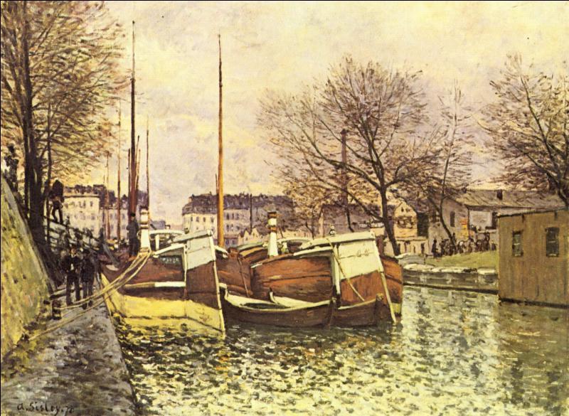 Quelle grande figure du mouvement impressionniste, né à Paris, et mort à Moret-sur-Loing, a peint  Péniches sur le canal Saint Martin  en 1870 ?