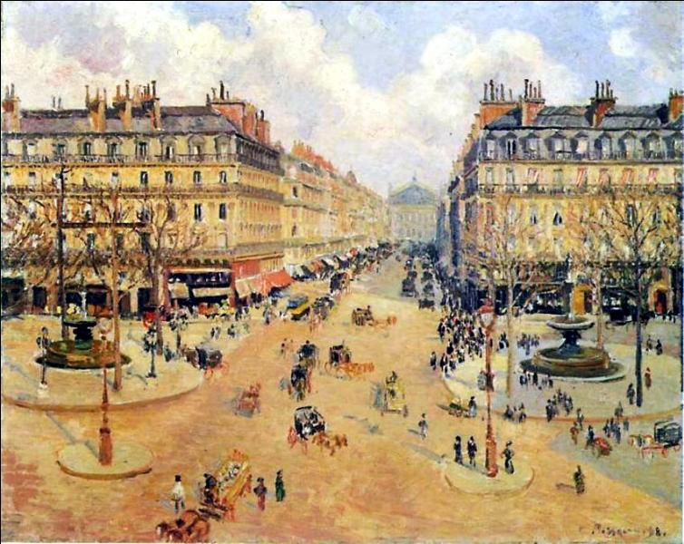 Connu comme l'un des  pères de l'impressionnisme , il est célèbre pour ses peintures de la vie rurale, mais aussi pour ses représentations de quartiers parisiens telle cette  Avenue de l'opéra, matin de soleil . Qui est ce peintre ?