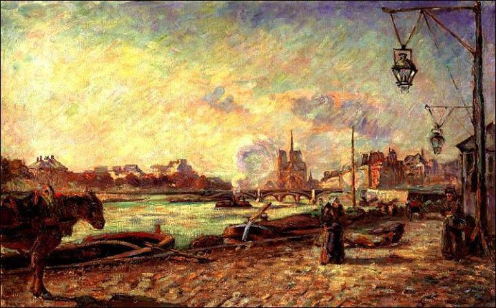 Peintre paysagiste, on lui doit beaucoup de représentations de Crozant et des rives de la Creuse qui sont parmi ses toiles les plus prisées. A Paris, il a souvent peint les quais dont ce  Quai de la Rapée , réalisé en 1871. Qui est-il ?