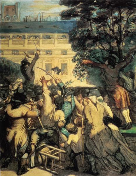 Quel peintre français, graveur et sculpteur, connu surtout pour ses caricatures d'hommes politiques, a réalisé  Camille Desmoulins au Palais Royal  vers 1850 ?