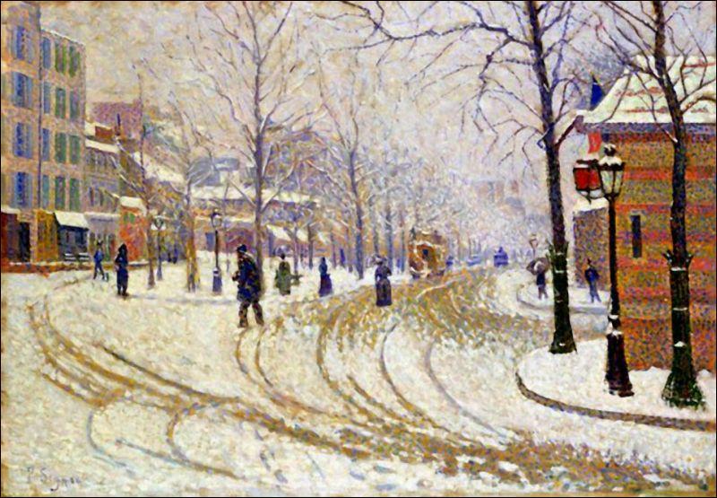 Créateur du pointillisme avec Georges Seurat, on lui doit cette représentation de Paris en hiver, avec  Neige boulevard de Clichy , réalisée en 1886. Qui est ce peintre ?
