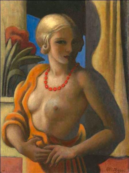 Qui a peint Femme debout sur cette toile ou l'on voit un bouquet de fleurs à l'arrière plan ?