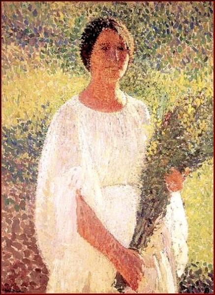 Qui a peint Jeune femme avec des fleurs ?