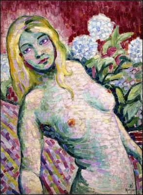 Qui a peint ce nu dans les fleurs ?