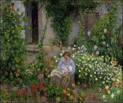 Qui a peint Mère et enfant dans les fleurs ?