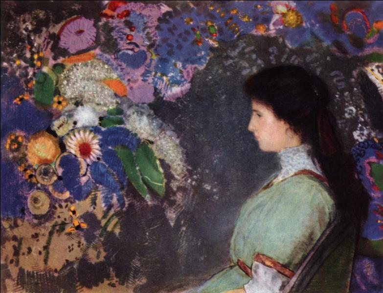 Qui a peint cette jeune fille et ces fleurs ?