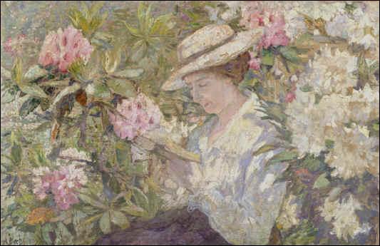 Qui a peint Femme lisant dans un massif de Rhododendrons ?