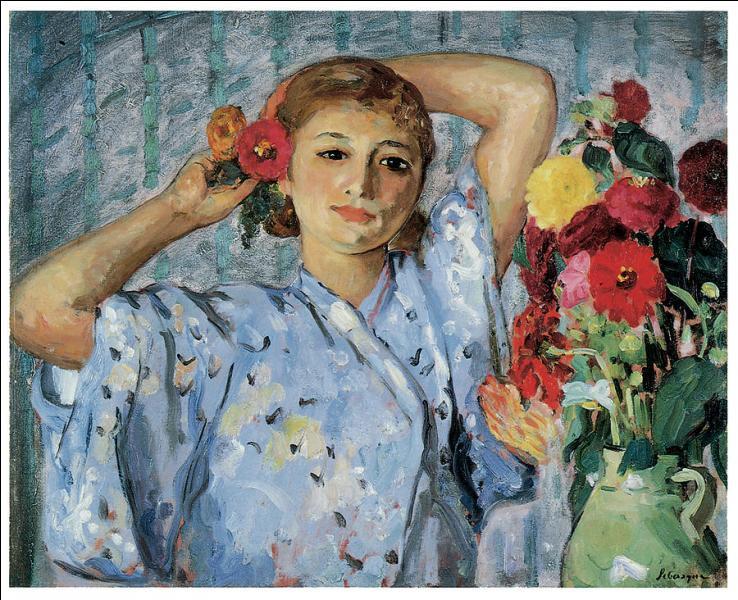 Qui a peint Jeune femme aux fleurs ?