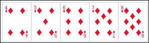 Au poker, quel nom donne-t-on à la suite colorée formée de cinq cartes de rangs consécutifs et dont la couleur est identique ?