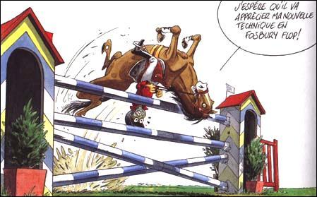 Lorsque l'on saute un obstacle à cheval, on se met :
