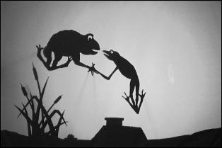 Sur cette image, il y a un caméléon à gauche et une grenouille à droite !