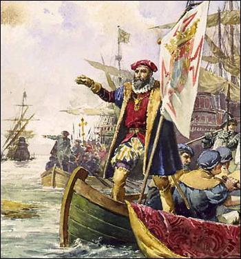 En 1497, Vasco de Gama contourne le continent africain et atteint Calicut sur la côte...