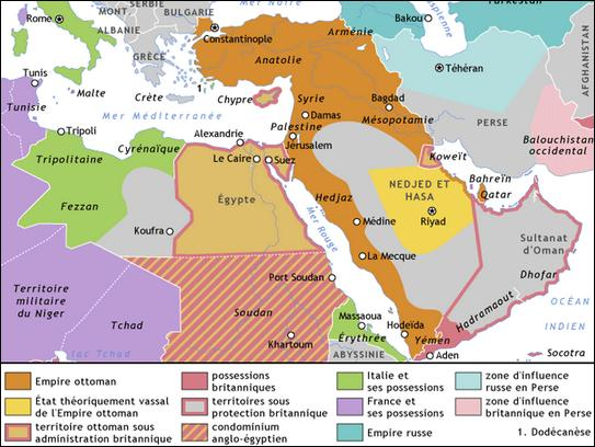 Suite auquel de ces grands traités l'Empire ottoman est-il démantelé en plusieurs États moins puissants (Syrie, Jordanie, Liban, Turquie et Irak notamment) à l'issue de la Première Guerre mondiale ?