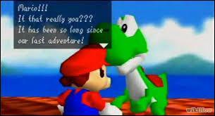 A la fin du jeu, un canon s'ouvre pour aller au toit du château, Yoshi vous attend pour vous donner...