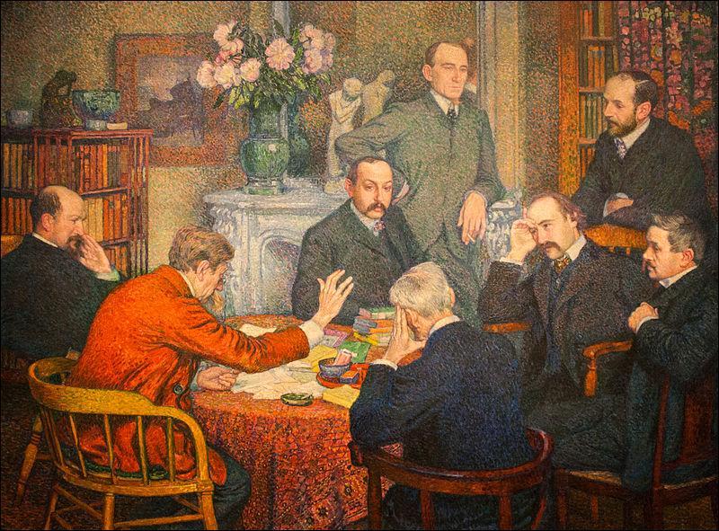 Quel peintre pointilliste a représenté Emile Verhaeren, poète belge flamand d'expression française, lisant ses poèmes à un cercle d'amis, sur ce tableau intitulé  La lecture  ?