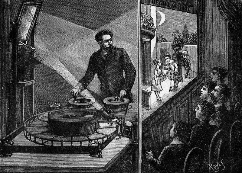 Qu'a inventé Emile Reynaud en projetant, à l'aide d'une lanterne magique, les premières images animées qu'il appelait  pantomimes lumineuses  pour lesquelles le public venait nombreux dans le Cabinet Fantastique du Musée Grévin ?