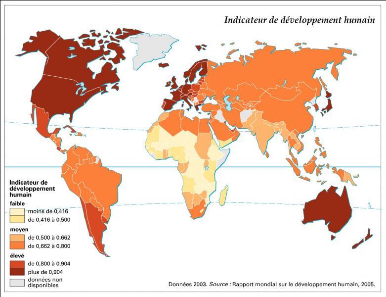 Premier chapitre,  Quelles sont les sources de la croissance économique ?  . Créé par l'économiste indien Amartya Sen, l'Indice de Développement Humain est un indicateur composite dont le calcul donne un résultat compris entre 0 et 1. Quelles données sa formule prend-elle en compte dans sa version la plus récente (2011) ?