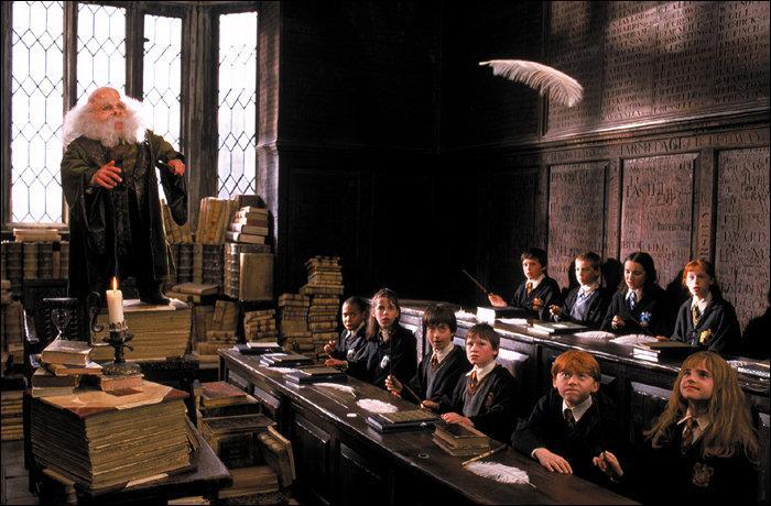 Retour aux sources. Dans  Harry Potter à l'école des sorciers , le Professeur Flitwick, spécialiste des sortilèges magiques, fait apprendre aux élèves le sortilège de Lévitation. Hormis le fait que Seamus Finnigan ait failli mettre le feu à la classe, quel objet les sorciers sont-ils censés faire léviter grâce à la formule magique Wingardium Leviosa ?