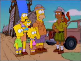 Une fois arrivée en Afrique, la famille Simpson est accueillie par un guide. Comment s'appelle-t-il ?