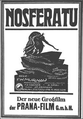 En 1922 la première version cinématographique de  Dracula  s'intitulait  Nosferatu le vampire  de Friedrich Wilhelm Murnau. Il s'agissait :