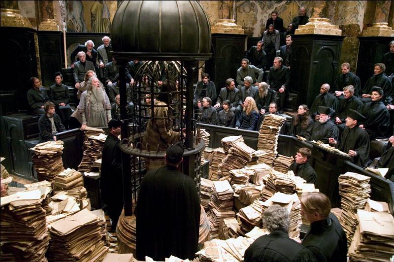 Quel objet magique très rare, présent notamment dans le bureau du directeur de Poudlard, Albus Dumbledore, permet à Harry Potter d'assister au procès et à la condamnation du Mangemort Bartemius Croupton Jr. ?