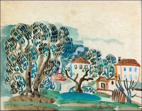 Oliviers et villas en Provence.