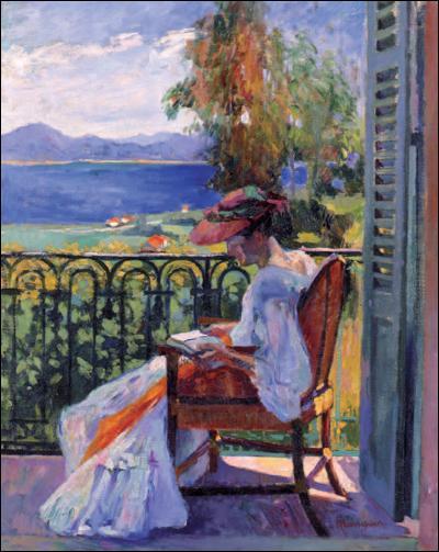 Jeanne sur le balcon de la villa Demière.