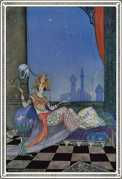 Chaque soir Shéhérazade raconte une histoire au sultan. Pour éviter d'être tuée le matin suivant elle ne termine pas l'histoire et s'interrompt à un passage palpitant. Cela durera 1 001 nuits.