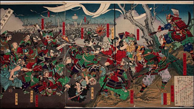 Ville du Japon assiégée 10 ans de 1570 à 1580. Après dix ans, et à bout de vivres et de munitions, les défenseurs Mori sont obligés de se rendre au seigneur Nobunaga qui épargne leur vie et les libère.