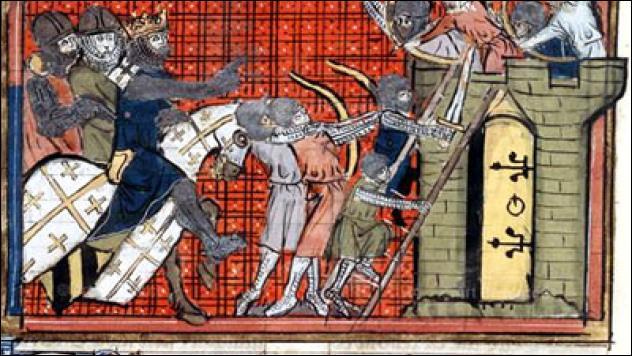 Le siège commencé en 1102 par Raymond de Saint-Gilles prend fin le 12 juillet 1109 par la prise de la ville ; cette dernière restera aux mains des croisés jusqu'en 1258.