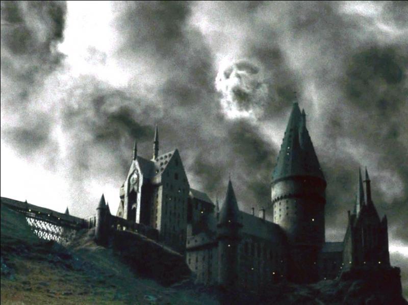 Immédiatement après la chute d'Albus Dumbledore depuis le haut de la Tour d'Astronomie, Bellatrix Lestrange fait apparaître, avec sa baguette magique, la Marque des Ténèbres dans le ciel de Poudlard. Dans le film  Harry Potter et le Prince de Sang-Mêlé , quel est l'aspect du signe de ralliement des Mangemorts ?