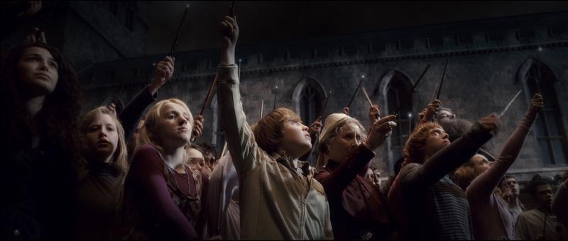 Au bas de la Tour d'Astronomie, les professeurs de Poudlard, les membres de l'Ordre du Phénix et des élèves anonymes se massent autour du corps sans vie d'Albus Dumbledore. Quel(le) professeur(e) de Poudlard est à l'origine de l'initiative de lever sa baguette magique pour chasser la Marque des Ténèbres dans le ciel de Poudlard et pour rendre hommage à Albus Dumbledore ?