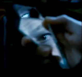 Emprisonné, Harry Potter cherche un moyen de s'échapper pendant que les hurlements de Hermione Granger, torturée par Bellatrix Lestrange, traumatisent Ron Weasley. Peu après, un des bouts du miroir à double sens tombe de la chaussette de Harry Potter. Alors qu'il demande à l'aide, que semble voir Harry Potter au travers du miroir ?