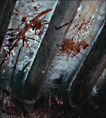 Dans quelle habitation faut-il se rendre pour observer cette tache de sang au plafond ?