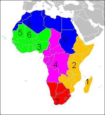 Sur la carte de l'Afrique le chiffre 7 représente :