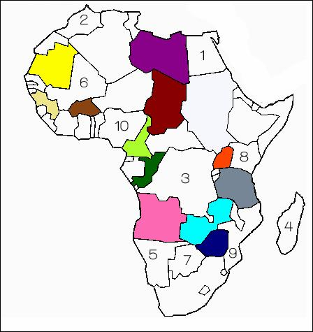 Quel est le pays bleu foncé ? Indice, il était autrefois appelé Rhodésie du Sud.