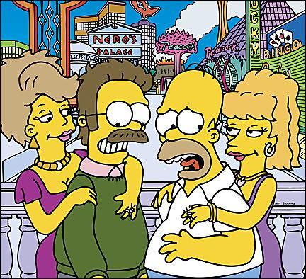 Qui sont ces deux femmes à côté de Ned et Homer ?