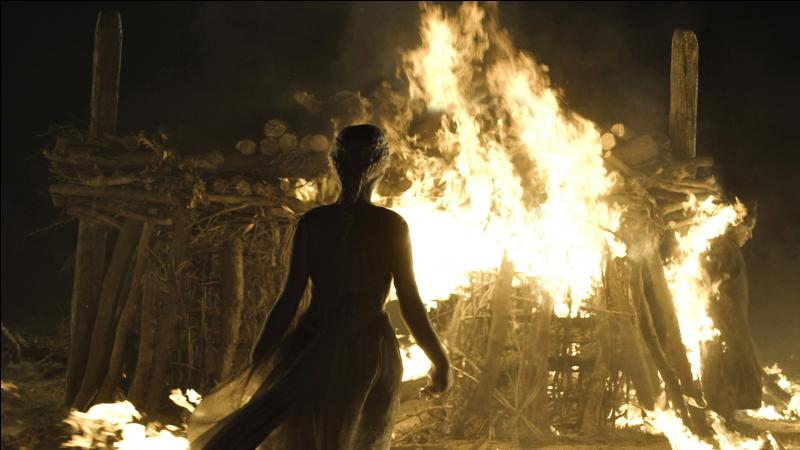Daenerys fait construire un bûcher funéraire où les trésors de Khal Drogo sont amoncelés. Le corps du khal est ensuite installé sur le bûcher avec les œufs de dragon et Mirri Maz Duur, toujours attachée. Les flammes s'élèvent, brûlant la maegi, les trésors et le corps de Drogo. Daenerys, envoûtée, s'approche et entre dans les flammes. Que se passe-t-il alors quand les flammes s'estompent ?
