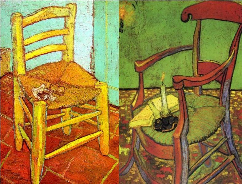 Ces deux tableaux peint à cette époque, représentent la chaise de Van Gogh à droite et la chaise de Gauguin à gauche.