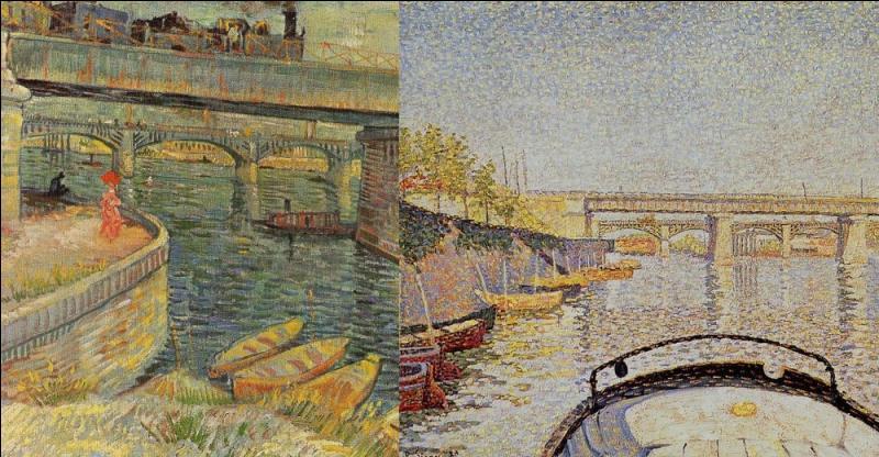 A la même époque, Van Gogh peint avec Paul Signac sur les bords de la Seine à Asnières. En témoigne ce tableau de Van Gogh à gauche.