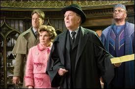 """Quand le fameux Directeur de Poudlard s'échappe à l'aide de Fumsek, dans un jeu de lumière très séduisant, lequel des membres du Ministère présents craque littéralement pour le """"style"""" indéniable de Dumbledore ?"""