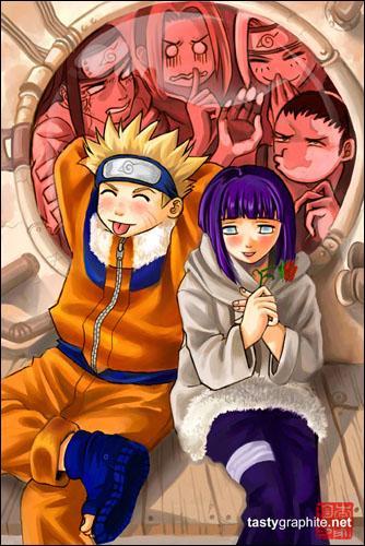 Que font les curieux qui regardent Naruto et Hinata ?