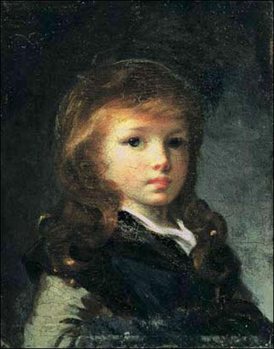 Portrait d'enfant au béret vert.