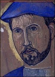 Tête d'un homme dans un béret bleu.