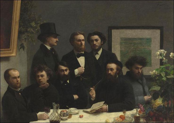 Qui est l'auteur de ce portait de groupe, hommage aux jeunes poètes parnassiens, dont Rimbaud et Verlaine, (au premier plan à gauche), intitulé  Coin de table (1872) et conservé au Musée d'Orsay ? ?