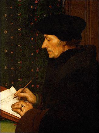Peintre et graveur allemand, il vécut à Bâle, haut lieu de l'Humanisme, où il se lia d'amitié avec Erasme. Il a réalisé  Erasme écrivant  en 1523. Qui est ce peintre ?