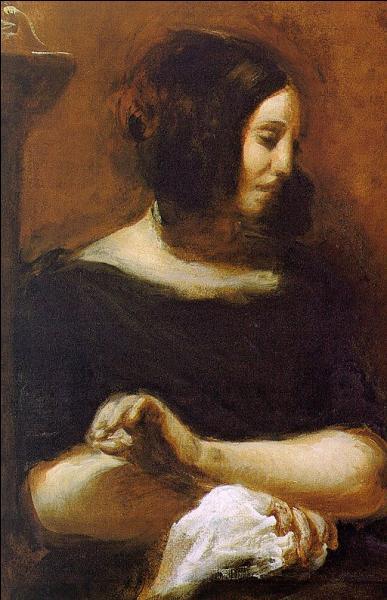 Quel artiste du courant romantique a peint George Sand en 1838, époque de sa liaison avec Frédéric Chopin ?