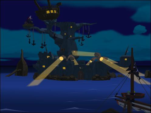 Maintenant qu'il est bien équipé il peut monter dans le bateau des pirates qui l'emmènent là où est emprisonnée la personne en détresse . Comment s'appelle cet endroit ?